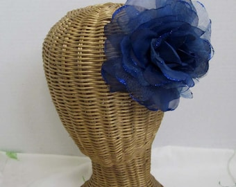 Blue Silk and Sheer Rose Flower Hair Clips And Brooch