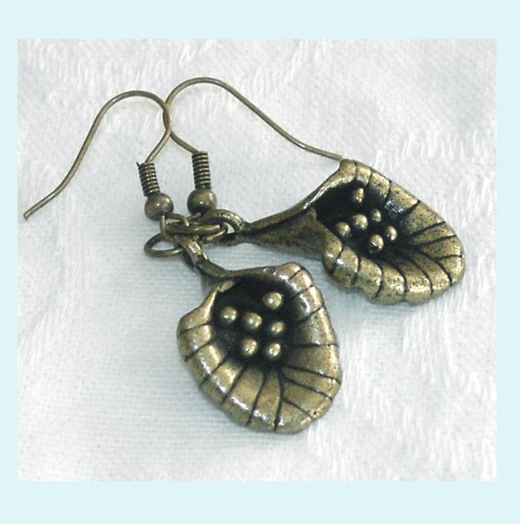 Antiqued Brass Calla Lily Earrings Free Shipping