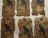 Stamped Crow PRIMITIVE HANG TAGS   Hand Drawn Designs  and Real Burnt Edges