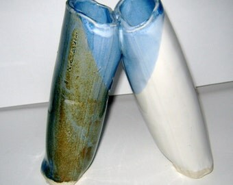 Leaning Vase - Stoneware Double Vase in Pale Hues