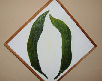 Pea Pods original oil painting 8 in X 8 in