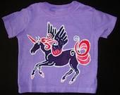 Kids Girl Batik Unicorn Pegasus Handmade TShirt
