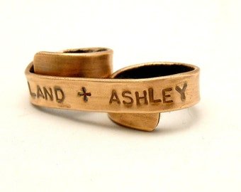 You + Me Custom Two Finger Banner Ring - Copper, Personalized Couples Ring - Unique Gift