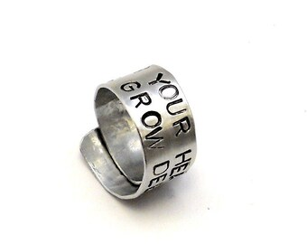 Personalized Silver Ring - Silver Personalized Ring - Custom Stamped Ring - Poem Jewelry