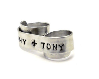 Couples Personalized Wedding Band, Two Finger Ring - You & Me