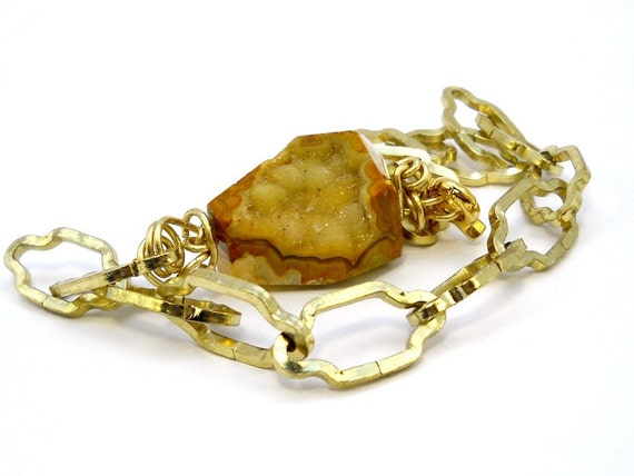 Raw Citrine Druzy Choker, Chunky Geometric Necklace - Gold
