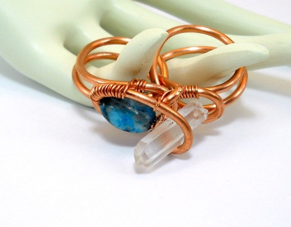 Gemstone Knuckle Ring - Raw Quartz & Lace Agate Two Finger Ring, Art Jewelry