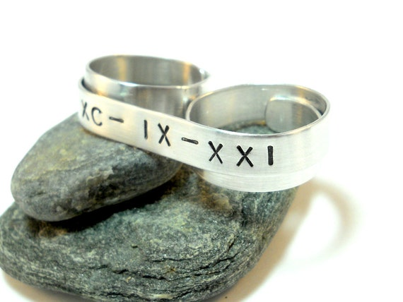 Sterling Silver Roman Numeral Ring - Custom Two Finger Ring