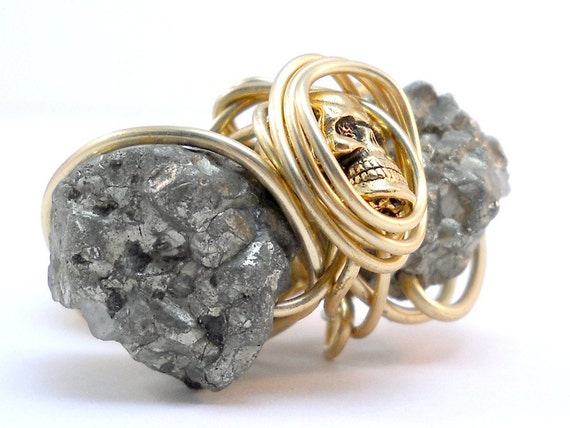 Huge Pyrite Skull Ring - Gold knuckle Ring, Raw Stone, Drusy Jewelry, One of a kind