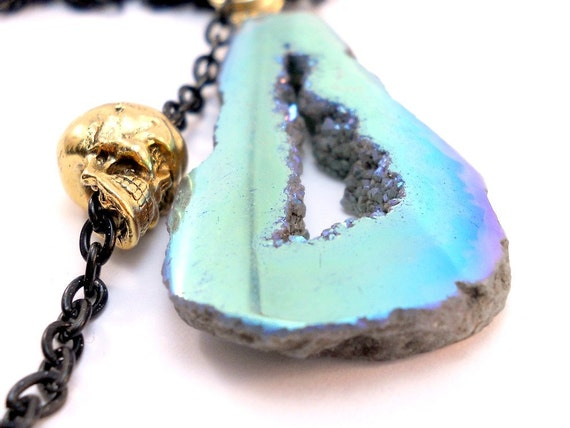Titanium Druzy Skull Necklace - Black and Gold - Reversible Geode Slice