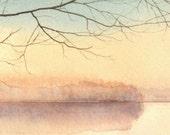 Watercolor Miniature Original Painting - Peaceful Lake at Sunrise