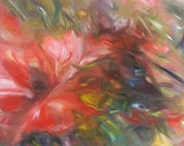 Red Floral Abstract Painting - 10 x 20 Original Oil on Canvas