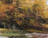 Tiny Original Mixed Media Painting -  art card Landscape River Scene