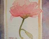 Small Original Watercolor Painting -  Susan Kennedy art - Tiny Flower