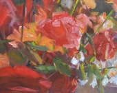 Original Oil Painting -  Susan Kennedy art - Red Rose Floral Abstract on Canvas