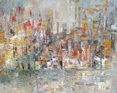 Reflections of the City Shoreline 11 x 14 Small Abstract Original Painting on Stretched Canvas