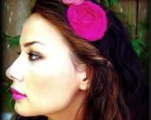 Sari Silk Retro Headband Flower Cranberry and Mauve