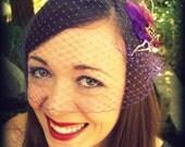 Purple Birdcage Veil  bridal bandeau 9 Inch Retro