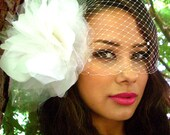 Custom Birdcage Veil Bandeau 9 inch Retro in White, Ivory Made to order
