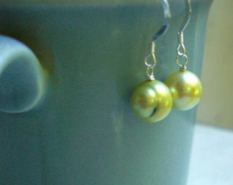 Pale Green Freshwater Pearl Earrings