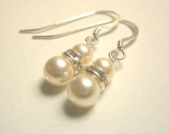 Bridal Swarovski pearl rhinestone sterling earrings bridesmaid