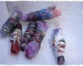 Unique Set of Six (6) Textile Fiber Art Beads