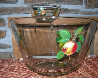 Clear Thick Glass Chip and Dip Bowl or Punch Bowl with Fruit Design