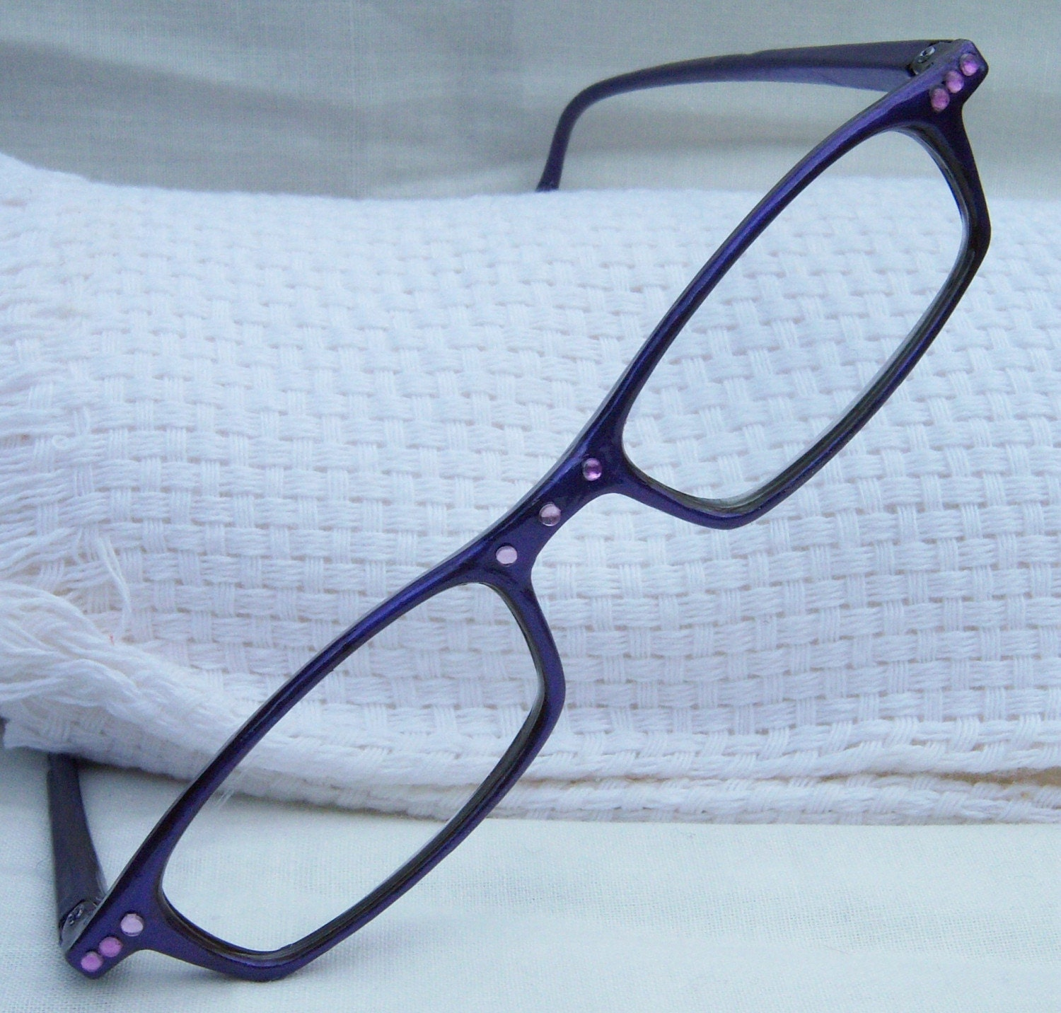 painted purple bling reading glasses