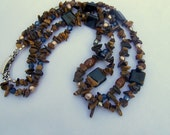 Necklace--Dark Blue Double Strand  JN237
