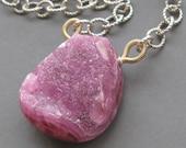 Necklace . Cobalto calcite druzy briolette . Sterling silver . 14k Gold fill
