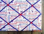 Democrat Memory Board French Memo Board, Fabric Ribbon Bulletin Board, Fabric Pin Board, Political Decor, Office Decor