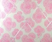 Pink Buds on Ivory Memory Board French Memo Board, Fabric Ribbon Bulletin Board, Fabric Photo Board,  Ribbon Pin Board, New Baby Gift