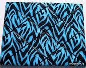 Blue Zebra Memory Board French Memo Board, Fabric Photo Board, Fabric Ribbon Memo Bulletin Board, Ribbon Pin Board, Teen Bedroom Decor