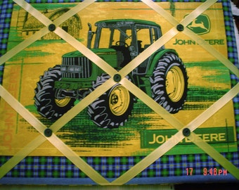 Tractor Memory Board French Memo Board, Farm Tractor Pin Board, Green Ribbon Board, Tractor Bulletin Board, Nursery Decor