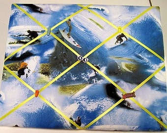 Surfing in the USA Memory Board French Memo Board, Fabric Ribbon Bulletin Board, Ribbon Memo Board, Fabric Photo Board, Gift For Her