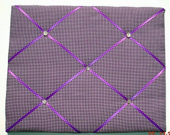 Purple Gingham Memory Board French Memo Board, Fabric Ribbon Bulletin Board, Ribbon Pin Board, Ribbon Photo Board, Bedroom Decor