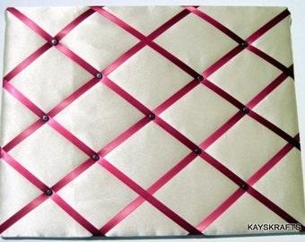 Ivory Satin Wedding Memory Board French Memo Board, Wedding Card Board, Fabric Ribbon Memo Bulletin Board, Fabric Pin Board, Wedding Decor