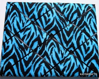 Blue Zebra Memory Board, Zebra French Memo Board, Zebra Fabric Photo Board, Blue and Black Ribbon Pin Board, Teen Bedroom Decor