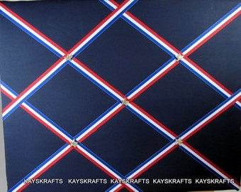 Navy with Red White Blue Ribbon Memory Board French Memo Board, Fabric Bulletin Board, Fabric Ribbon Board, Ribbon Pin Board
