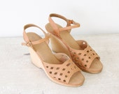 Leather Cut Out 1970s Wedges