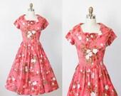 Rasberry Sorbet Floral 1950s Dress Full Skirt