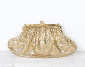 Gold Metal Whiting and Davis Clutch Purse Wedding Bridal