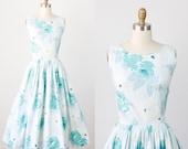 Full Skirt 1950s Dress Blue Whimsical Floral Print