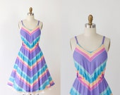 Rainbow Sherbert Chevron Stripe Dress with Full Skirt
