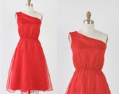 One Shoulder Red Suble Stripe Cocktail Party Dress