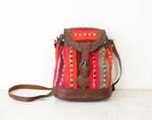 Multi Color Kilim Woven Textile Leather Cross Body Vintage Bag