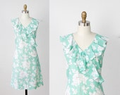 RESERVED Spearmint Green White Floral Ruffle Dress