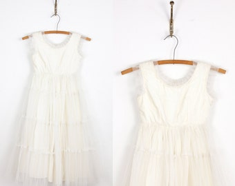1950s Full Skirt Flower Girl Wedding White Tulle VIntage Dress