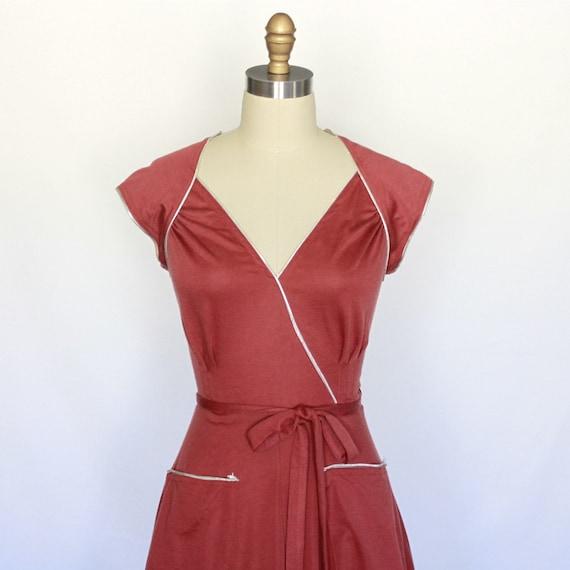silver trimmed BURNT ORANGE vintage wrap dress
