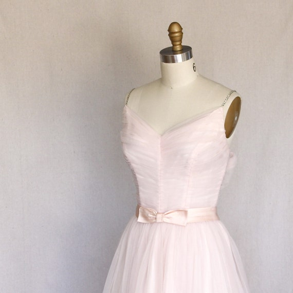Ballet Pink Chiffon Full Skirt Vintage 1950s Party Dress